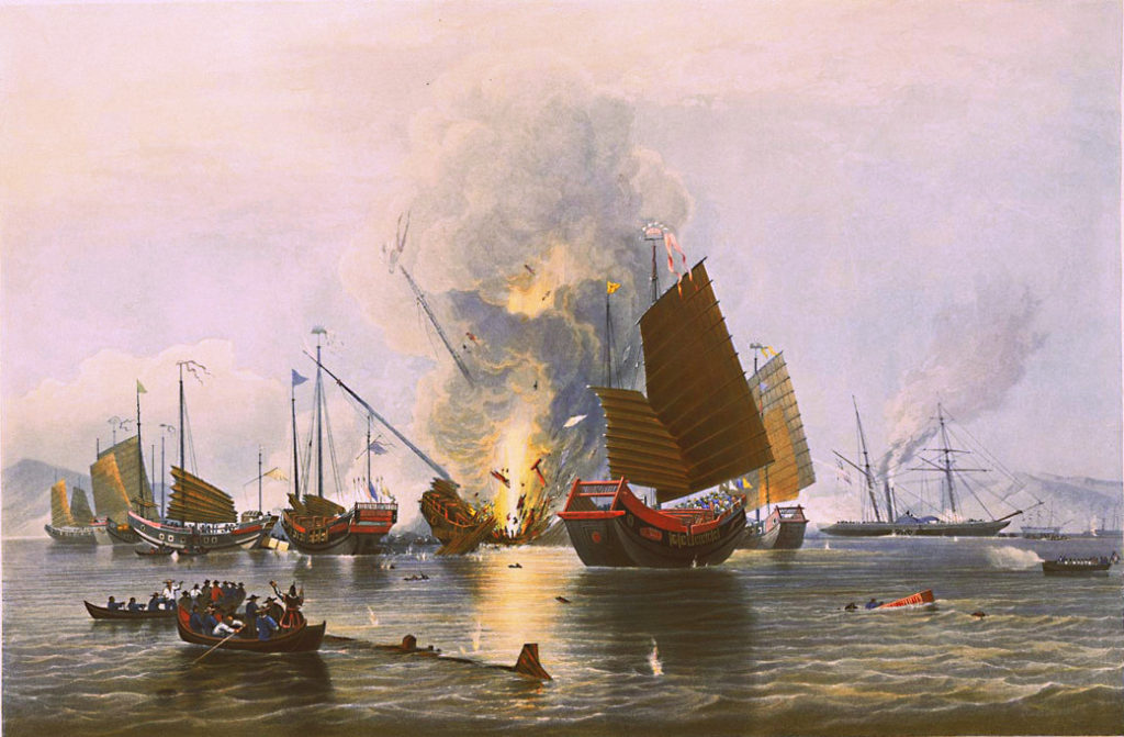 The Nemesis destroying Chinese war junks during the Second Battle of Chuenpi, 7 January 1841, by Edward Duncan