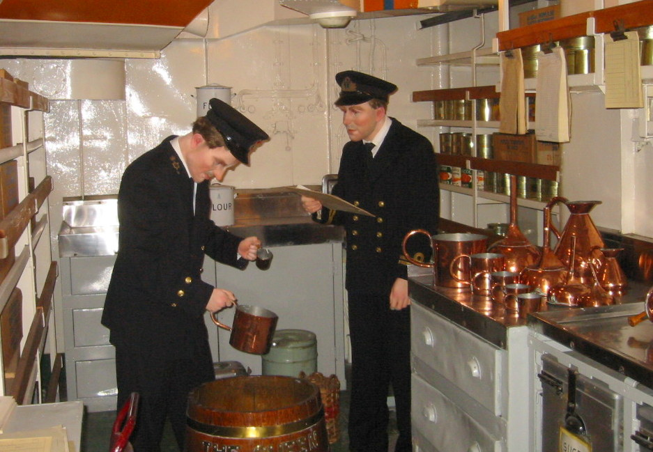 A depiction of the rum ration being issued on the HMS Belfast
