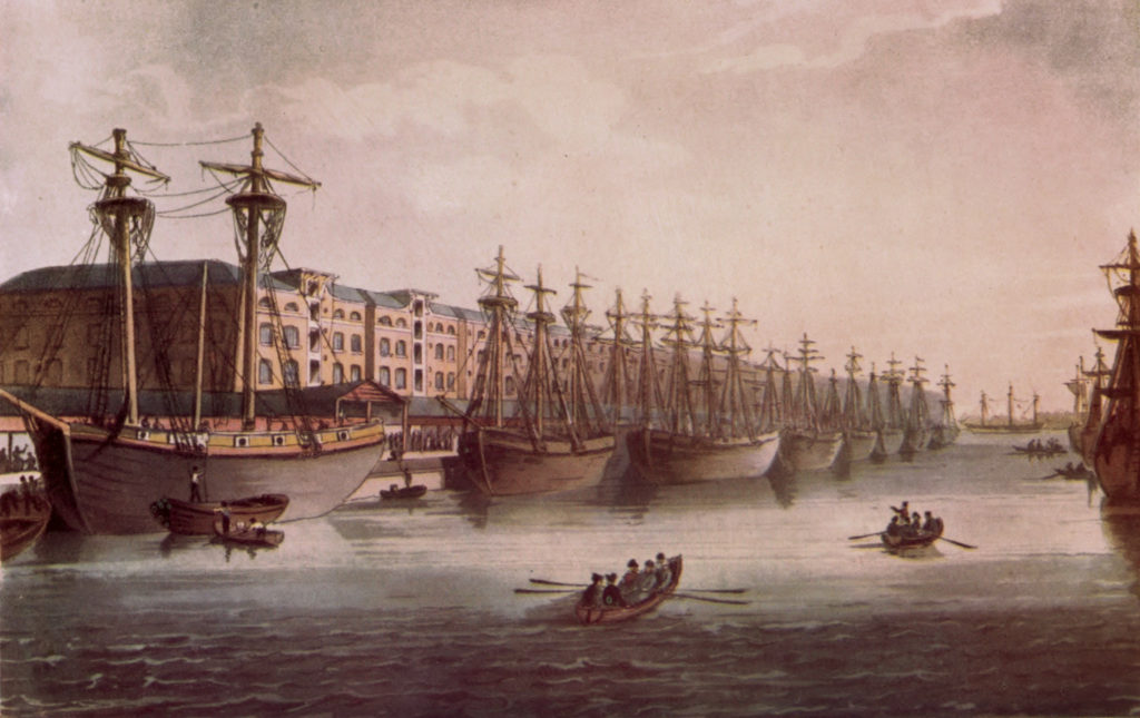 Painting of the West India Dock