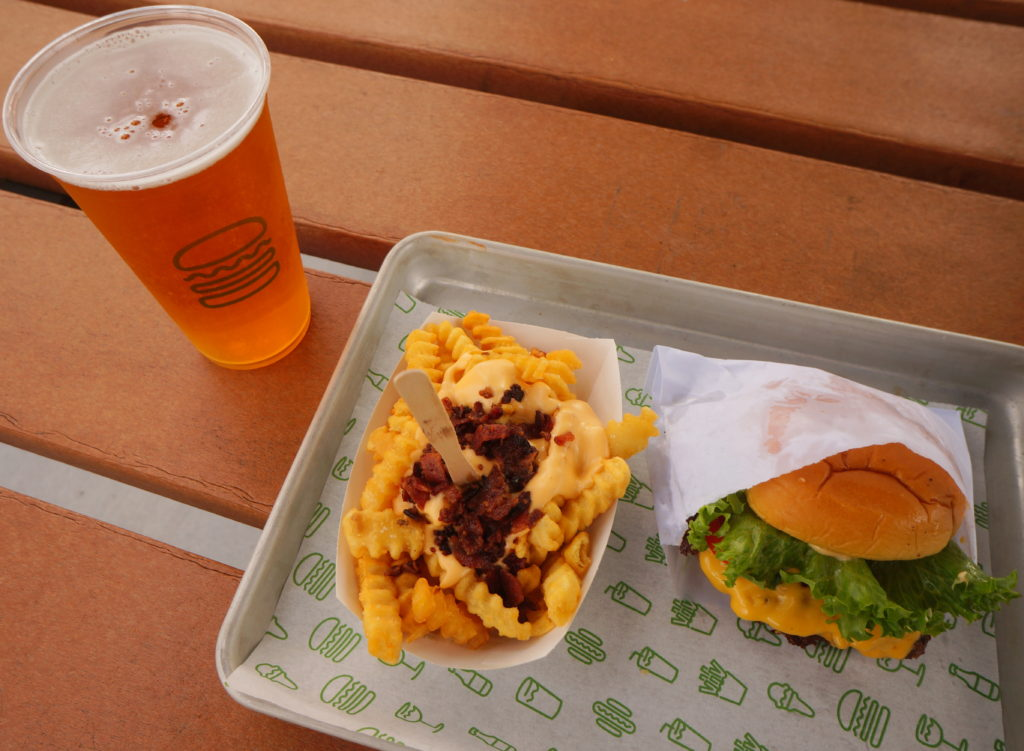 ShackBurger with Bacon Cheese Fries and Shackmeister Ale from Shake Shack